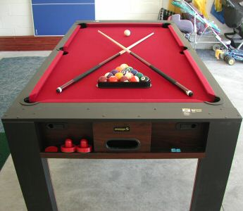 Pool Table converts to Air Hockey and Table Tennis Table